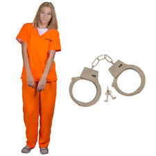 ORANGE PRISONER LADIES CONVICT COSTUME + HANDCUFFS FANCY DRESS INMATE SCRUBS
