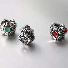 925 Solid Sterling Silver Bead Sunflower CZ Fit 3mm European Charms Bracelet
