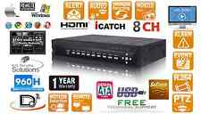 8 CH Embedded Linux 8000GB (8TB) H.264 Network CCTV Security DVR D1 480FPS 960H