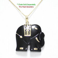 14k Solid Yellow Gold; Hand Carved Popular Elephant Design Black Onyx Pendant
