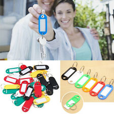 10pcs Luggage ID Name Card Tags Labels Identifiers Fob Key Split Rings Keychain