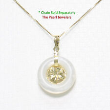14k Yellow Gold Hawaiian Plumeria 16mm Donut White Mother of Pearl Pendant 0.9""