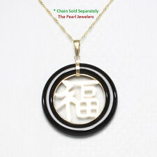 14k Solid Yellow Gold GOOD FORTUNE on Black Onyx Ring Shaped Oriental Pendant