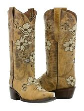 Womens Sand Tan Beige Flower Embroidered Leather Cowboy Cowgirl Boot Distressed