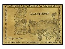 New Gloss Black Framed Game Of Thrones Antique Map GoT Poster