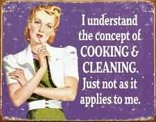 New Cooking & Cleaning Retro Concepts Metal Tin Sign