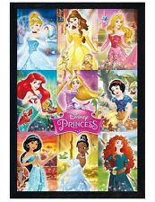 Disney Black Wooden Framed Princess Collage Maxi Poster 61x91.5cm