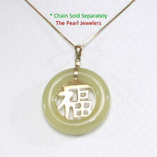 14k Solid Yellow Gold JOY; Yellow Jade Circle Donut Good Luck Charm Pendant