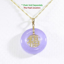 "Beautiful Donut Shape Lavender Jade ""GOODLUCK"" 14k Yellow Gold Charm Pendant TPJ"