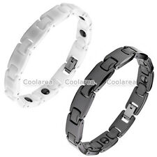 Mens Energy Ceramic Stainless Steel Magnetic Therapy Power Health Wrist Bracelet