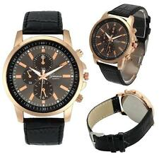 Mens Watch Women Casual Business Geneva Faux Leather Quartz Wristwatches Popular