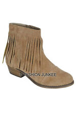 BEIGE TAUPE Ankle FRINGE BOOTIES Shoes Suede Heels Boots Boho Bohemian 5.5-10
