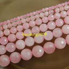 "Natural 4/6/8/10/12/14mm  Faceted Rose Quartz  Round Loose Beads 15"" Choose size"