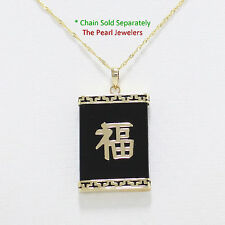 """Rectangle Black Onyx Pendant 1.25"""" Crafted of 14k Solid Yellow Gold Good Fortune"""