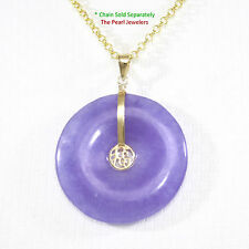 14k Yellow Solid Gold Hand Carved Donut Shape Lavender Jade Good Luck Pendant