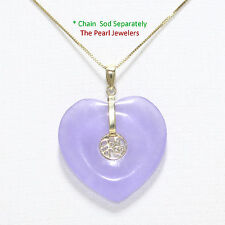 14k Solid Yellow Gold Joy on 25mm Heart Shaped Lavender Jade Love Pendant