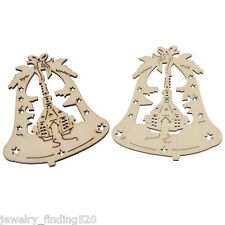 Wholesale Wooden Christmas Ornaments Home Bell X-mas Tree Hanging Decor Party
