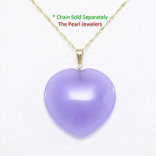 Beautify 14k Yellow Gold Bale 25mm Cabochon Love & Heart Lavender Jade Pendant