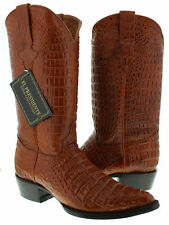Men's Cognac Classic Full Crocodile Alligator Design Leather New Cowboy Boots