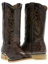 mens brown crocodile alligator head cut western leather cowboy boots rodeo texas
