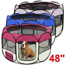 """48"""" Pet Dog Cat Playpen Tent Portable Exercise Fence Kennel Cage Crate 3 Colors"""
