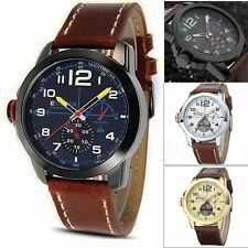 CURREN Mens Leather Analog Army Military Quartz Sport Wrist Watch #E + Gift