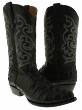 Mens Black Cowboy Crocodile Alligator Tail Patterm Exotic Leather Boots