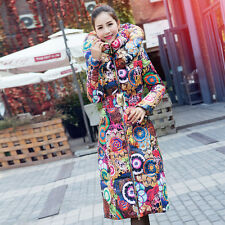 2016 Full Length Fashion Foral Winter Thicken Warm Women Coat Down Hooded Jacket