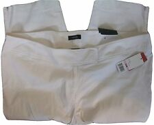New Rafaella white curvy fit stretch woven cropped pants  22W 3X