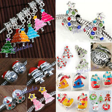 LOT Christmas Tree Socks Enamel Crystal European Charm Beads fit Craft DIY Gift