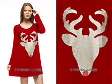 RED 32 NOSE REINDEER DEER DRESS Glitter Tunic Top Shirt Christmas Holiday S M L