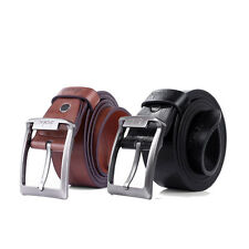 New Mens Leather Single Prong Belt Business Casual Dress Metal Buckle Waistband