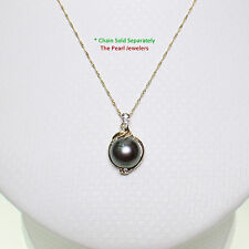 14k Solid Yellow Gold AAA 9.5-10mm Black Cultured Pearl & Diamonds Pendant 7/8 ""