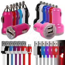USB IN CAR CHARGER ADAPTOR + MATCHING MICRO USB DATA CABLE FOR SAMSUNG PHONES