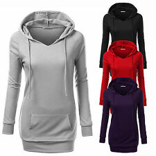 Womens Pocket Casual Pullover Hoodie Jacket Sweater Coat Hooded Jumper Gym Tops