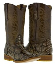 mens brown python snake skin design leather western cowboy boots rodeo exotic