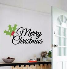 Merry Christmas Holly Leaves Vinyl Decal Wall Sticker Words Lettering Art Quote