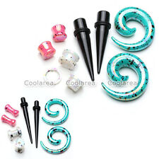 4 Pair Acrylic Tapers Plug Spiral Saddle Expander Ear Tunnel Ear Gauge Stretcher