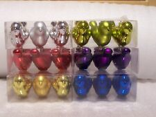 6 Robin Christmas Tree Decorations baubles Silver Gold Red Blue Purple Lime Gree