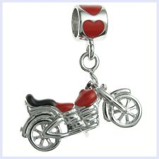 Sterling Silver Cool Motorbike Red Enamel Dangle Bead f/ European Charm Bracelet