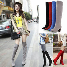 Womens Ladies Block Heel Faux Suede Over the Knee Boots Thigh High Stretch Shoes