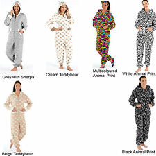 Ladies Onesie All In One Playsuit Jumpsuit Sleepwear Loungewear Hooded Sleepsuit
