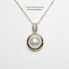 14k Solid Yellow Gold Diamonds & AAA White Cultured Pearl Enhancer Pendant TPJ