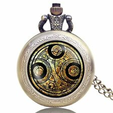 Retro Doctor Who Time Lord Seal Pendant Necklace Pocket Watch Perfect Xmas Gift