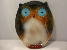 Gibson Hoot Owl Wide Eye Plate Stoneware Brown Blue Cream Decorative Bird Gift