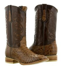 mens cognac brown crocodile alligator western leather cowboy boots rodeo texas