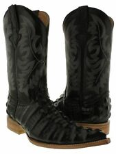 mens black crocodile exotic tail western leather cowboy boots pointed toe new