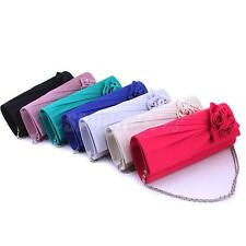 LADY PARTY PROM BRIDAL BRIDESMAID EVENING CLUTCH BAG PURSE HANDBAG SATIN FLORAL