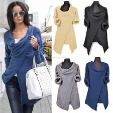 Women Cowl Neck Cardigan Knitted Coat Sweater Jumper Long Sleeve Pullover Tops