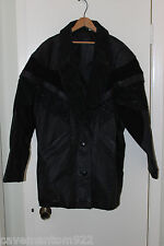 WOMENS LADIES PRESTON & YORK BLACK FLORAL DESIGN LEATHER COAT SIZE L